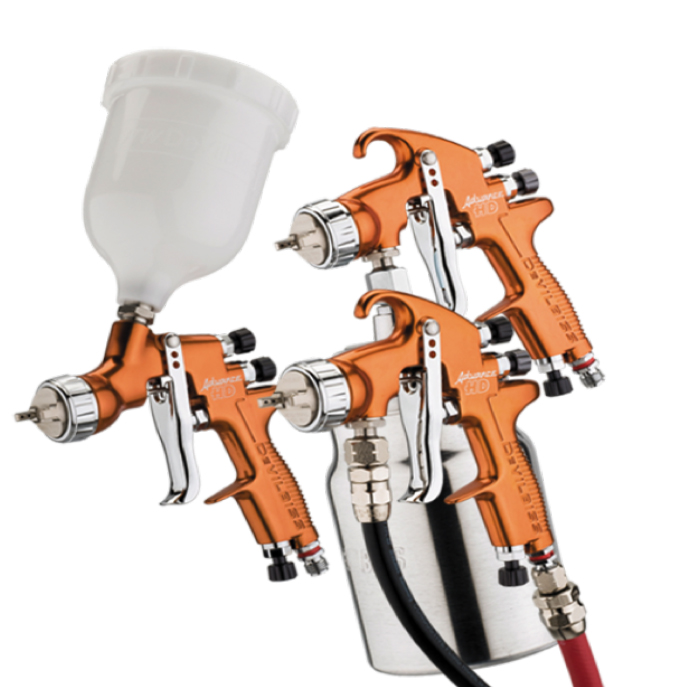 DeVilbiss Advance HD Compliant Mid Size Spray Gun Range