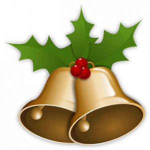 Christmas bells and holly motif
