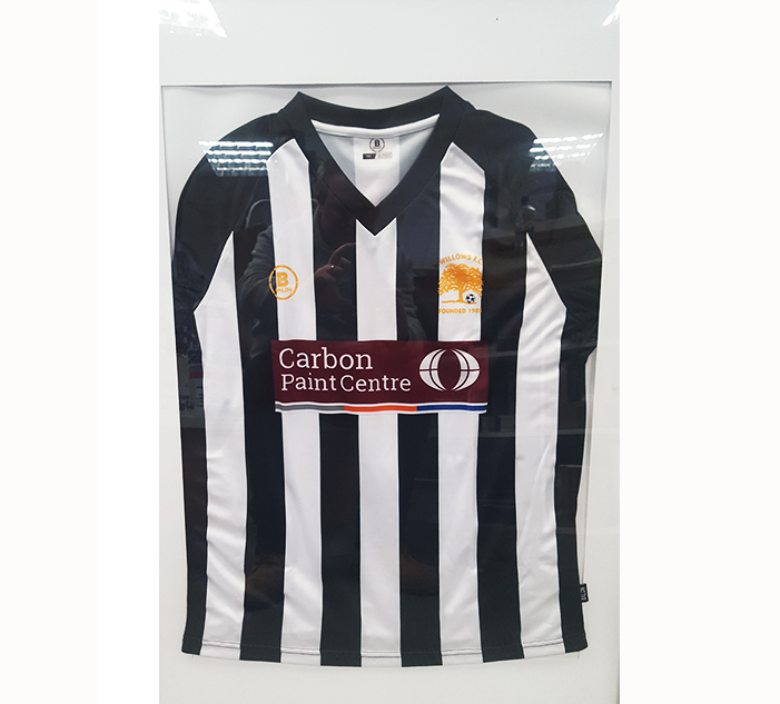 Carbon Group sponsored Willows FC jersey