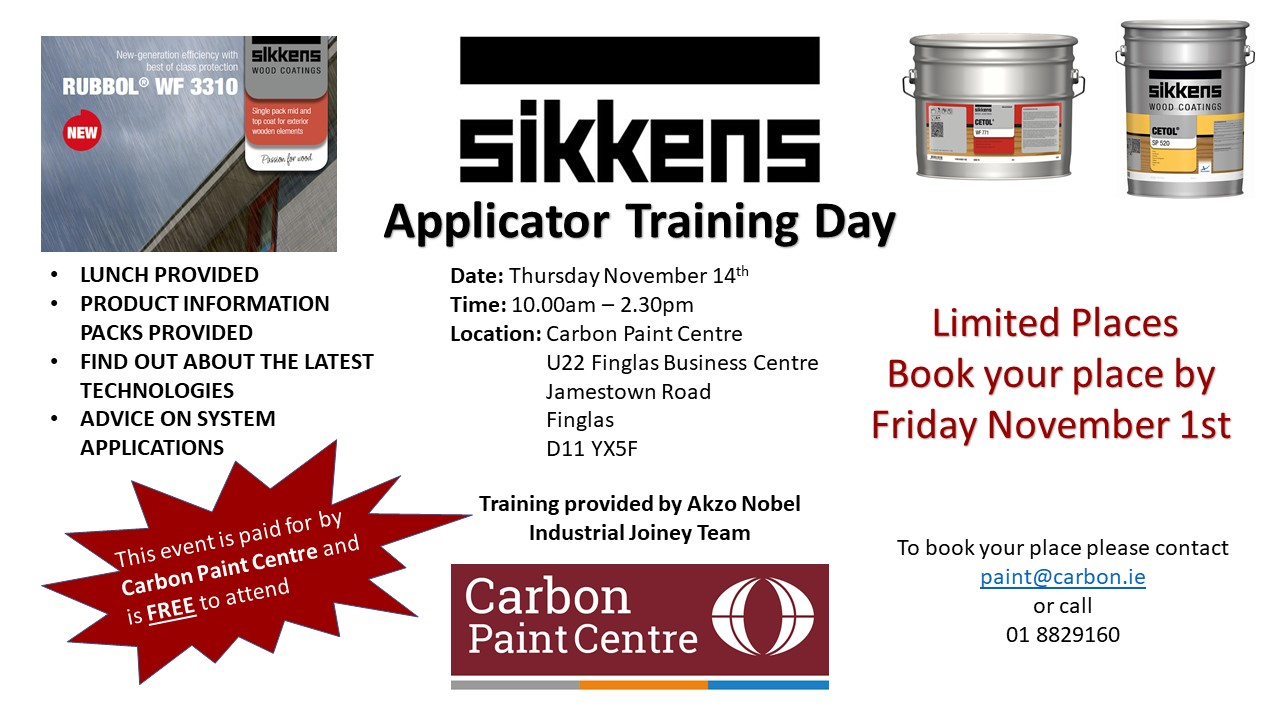 Poster inviting bookings for the upcoming Sikkens Applicator training day on 14th November, 2019