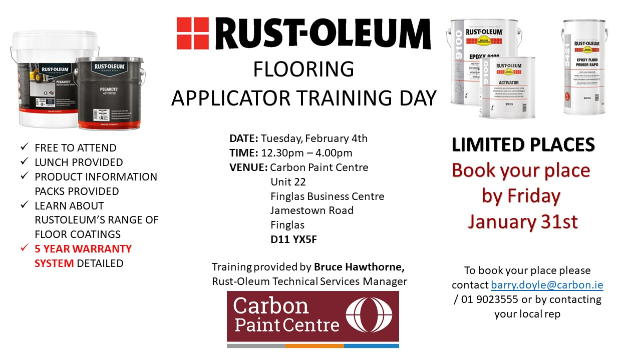 Rust-Oleum flooring applicator training day promotional graphic