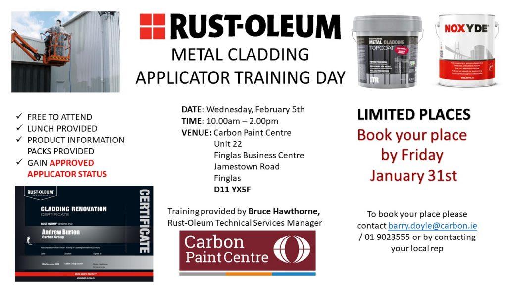 Rust-Oleum metal cladding applicator training day promotional graphic