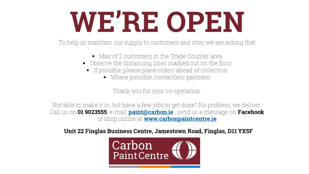 Graphic - we're open as an essential retail business