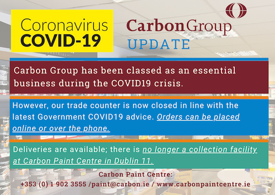 REMINDER: There is no longer a collection facility at Carbon Paint Centre in Dublin 11. Order online or place a telephone order - 01 9023555 / https://www.carbonpaintcentre.ie #stayhome #stayathome