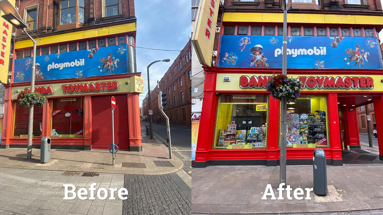 Before and after photos of Toymaster on Jervis Street in Dublin