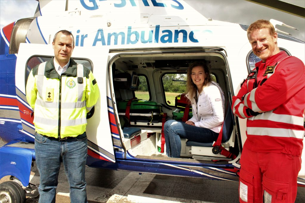 Photo (L-R): Paul Traynor (Lead Paramedic, ICRR), Clodagh Lynch, Donagh Verling (Pilot, ICRR). Caption : Following her recovery, Clodagh Lynch got the opportunity to meet with, and express her thanks to, the lead paramedic and pilot who responded to her medical emergency last May.