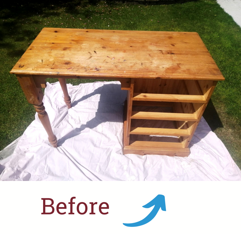A 'before' photo of a an old desk that a customer used for an upcycling project
