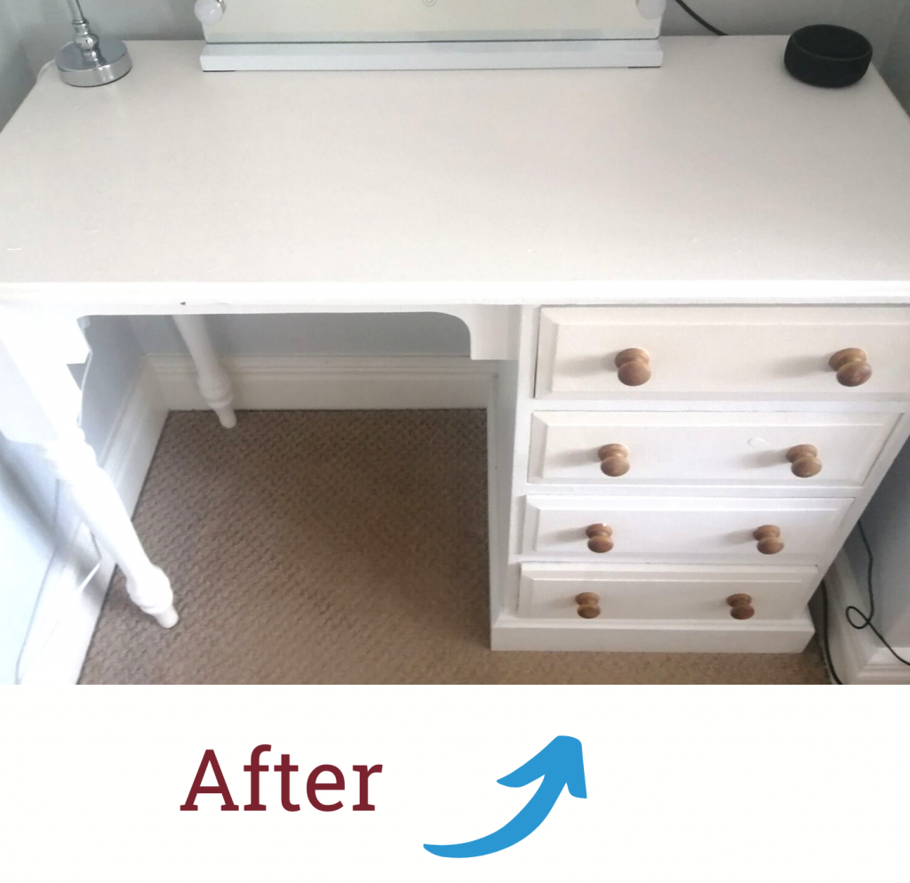 An 'after' photo of a an old desk that a customer used for an upcycling project