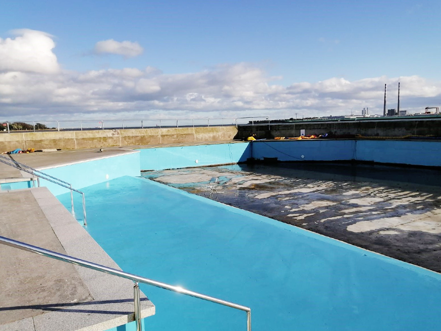 Swimming pool refurbishment project in progress
